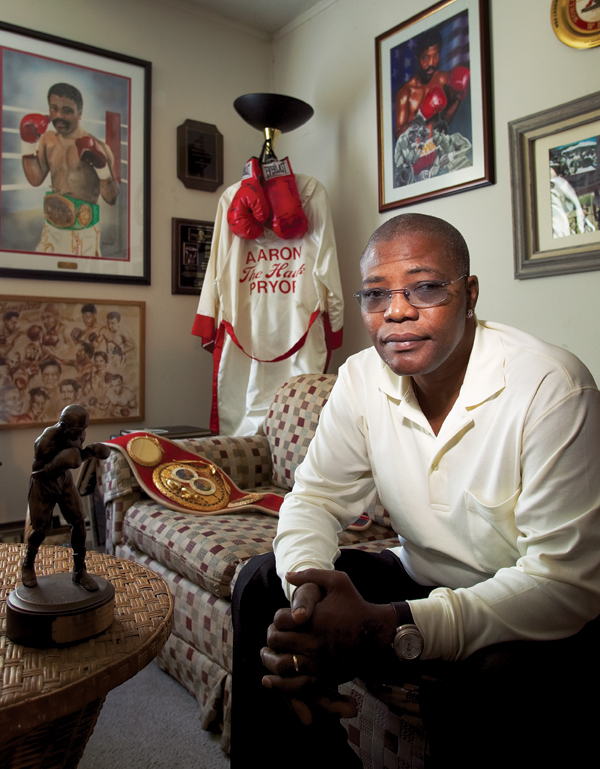 The Champ's career is on display in the small den of his Mt. Airy apartment.