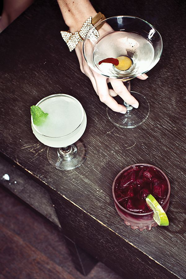 MIX IT UP: Serve a classic cocktail, like these created by mixologist Molly Wellmann, that speaks to your style. Top to bottom: Sweet Heat, Southside, Brunswick Sour.