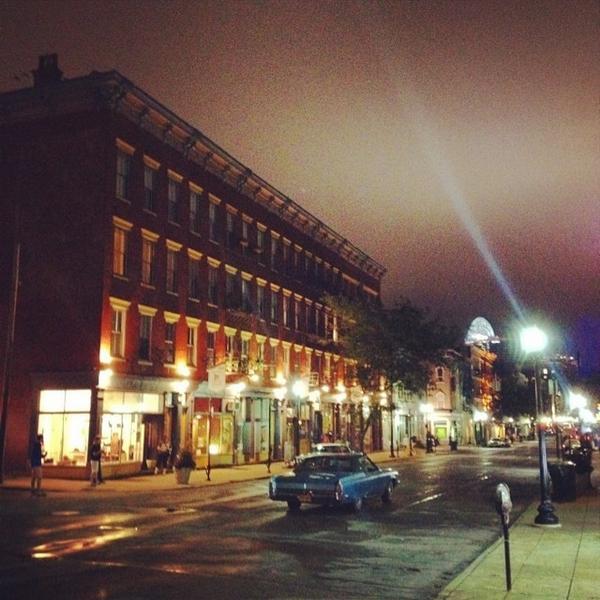 Car chase scene on Main Street