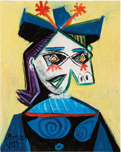 """Pablo Picasso, Tête de femme, 1939, oil on canvas, 16""""x13"""", Wexner family collection © 2014 Estate of Pablo Picasso/Artists Rights Society (ARS), New York"""