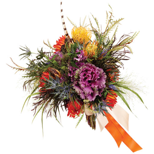 Bouquet with kale,  thistle, sunflowers, and fern starting at $165, paperwhites+ whimsy creative events and florals, (513) 616-1431