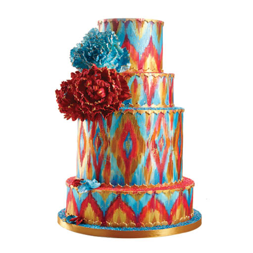Hand-painted ikat print cake  starting at $8  per serving, Sugar Realm  Fine Bakery and Cake Design,  sugarrealm.com