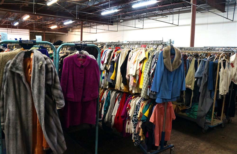 Racks on racks on racks of vintage clothing