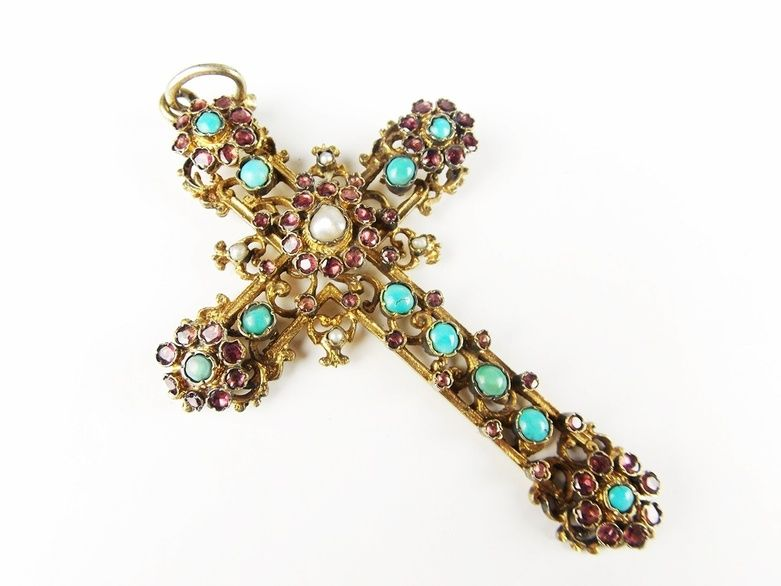 A Vintage Gold Plate Cross Pendant Embellished with Stones
