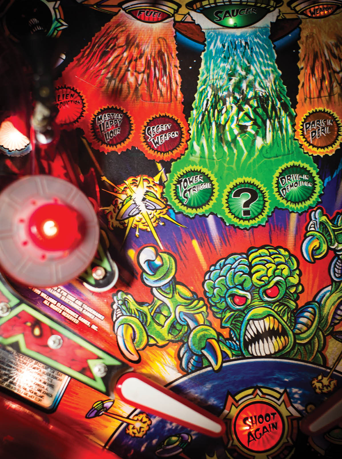 Detail of the playfield on Revenge from Mars