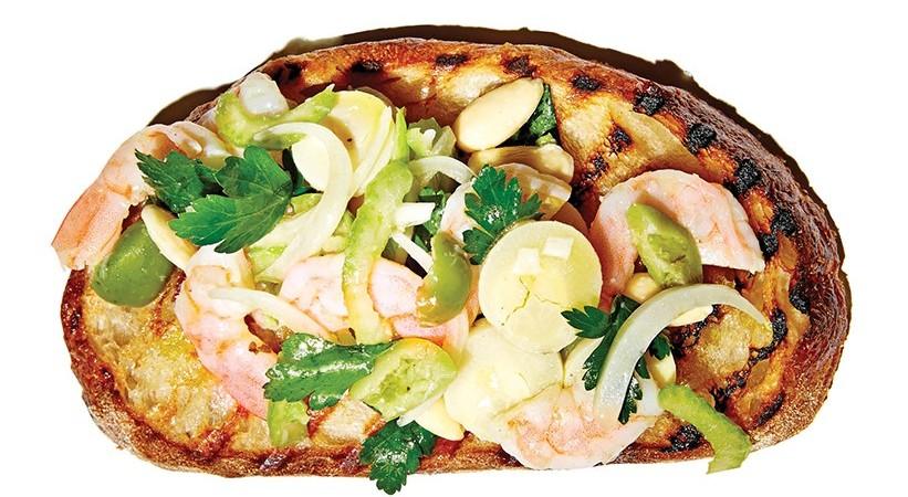 Marinated Shrimp, Celery, and Green Olives, 16 Bricks Sourdough, facebook.com/sixteenbricks