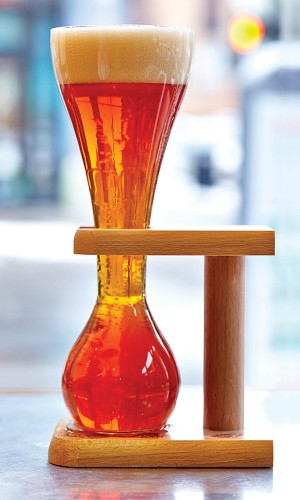 A 10-ounce glass of Kwak, a Belgian beer