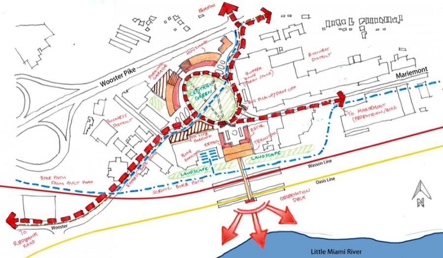 UC Niehoff Urban Studio rendering of a Fairfax light rail hub, courtesy UC Niehoff Urban Studio, UC DAAP School of Planning, UC College of Engineering and Applied Science – Civil Engineering Department
