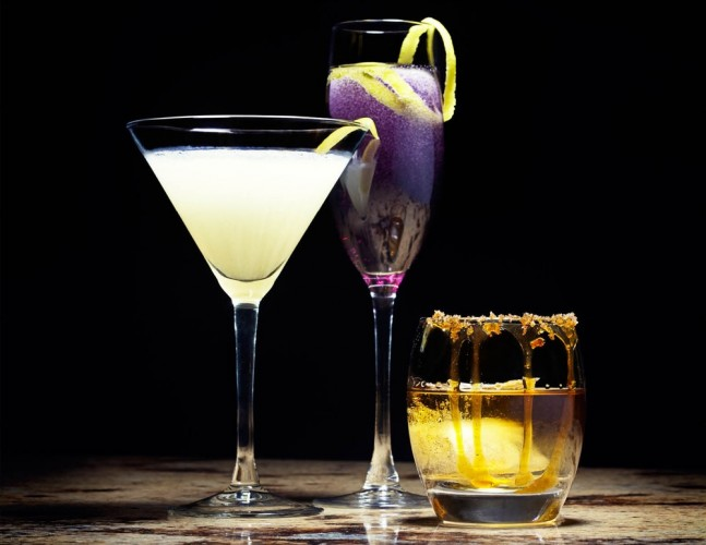 From left to right: Corpse Reviver #2, Twist on a Stormy Morning, Salted Bourbon