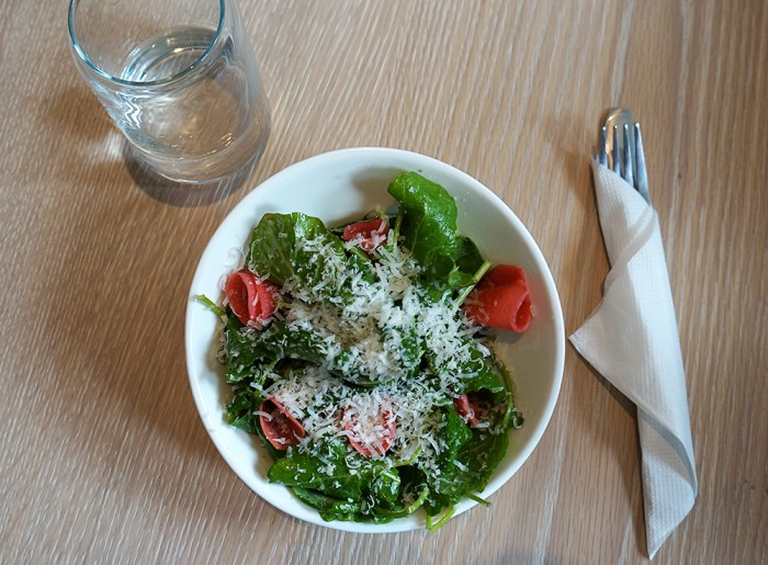 Baby kale salad with Pecorino, watermelon radish, cumin vinaigrette