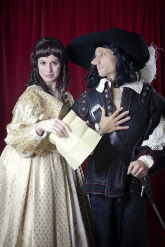 Caitlin McWethy as Roxane and Jeremy Dubin as Cyrano in Cincinnati Shakespeare Company's upcoming 2015 production of Cyrano de Bergerac Based on the translation written by Anthony Burgess of the play written by Edmond  Rostand, September 11- October 3, 2015.