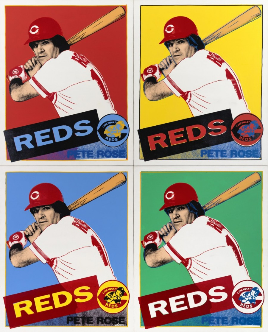 Andy Warhol (American, b.1928, d.1987); Pete Rose, 1985; Painting, acrylic on canvas with silk screen image; 4 panels, each 54 x 44 in. (137.2 x 111.8 cm); Museum Purchase: Bequest of Mr. and Mrs. Walter J. Wichgar; 1985.208a-d