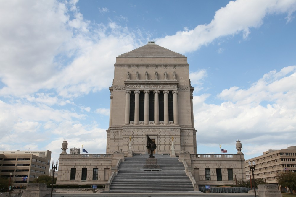 The south side of the Indiana War Memorial picturing Pro Patria.