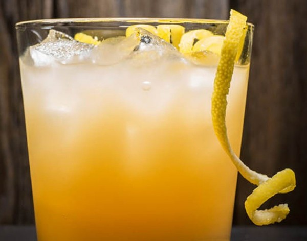 The Chase cocktail, with Buffalo Trace, house ginger beer, and lemon twist.