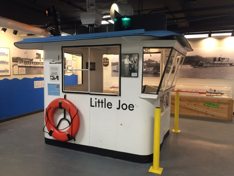 Little Joe, a real wheelhouse from a barge that used to travel the Ohio River