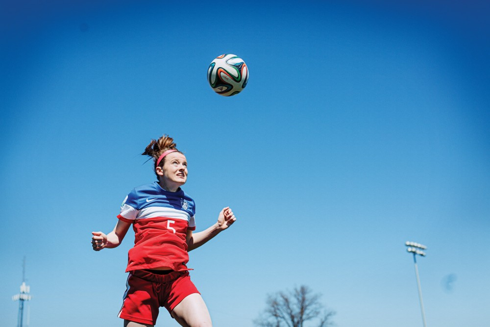 Rose Lavelle photographed on the soccer field at Mount Notre Dame High School on March 31, 2015.