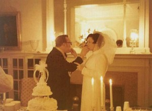 Jack and Mary White's 1970 wedding reception in the Great Room.