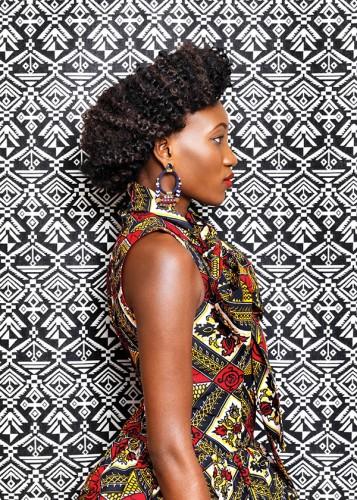 Obie Iloka's custom designs use traditional Nigerian Ankara fabrics in modern, high-style silhouettes.