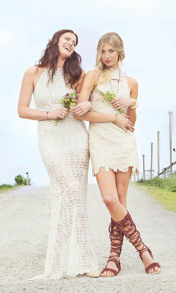 (Left) Stone Cold Fox Logan gown, $415, Free People. Married Metal earrings, $80, Hannah Hoffman. Howlite spike necklace, $60; Agate Bubble cuff, $70; Rock Salt Vintage. Gold choker, $20; silver choker with chain, $16; solid brass square bangle, $36; Libby. Cold Picnic sculptural ring, $120, Continuum. (Right) Jessa Foil lace dress, $250, Free People. Howlite spike earrings, $120, Rock Salt Vintage. Copper Twig necklace, $43, Tree Trunk Arts. Black geode necklace, $30; solid brass square bangle, $12; Libby. Dea Dia raw quartz crystal pyrite cuff, $50; Sophie Monet wood and pearl cuff, $77; Continuum. Bronze Bark ring, $58, Tree Trunk Arts. Frederic Sage rose-gold engagement ring, $1,095, The Richter & Phillips Co.