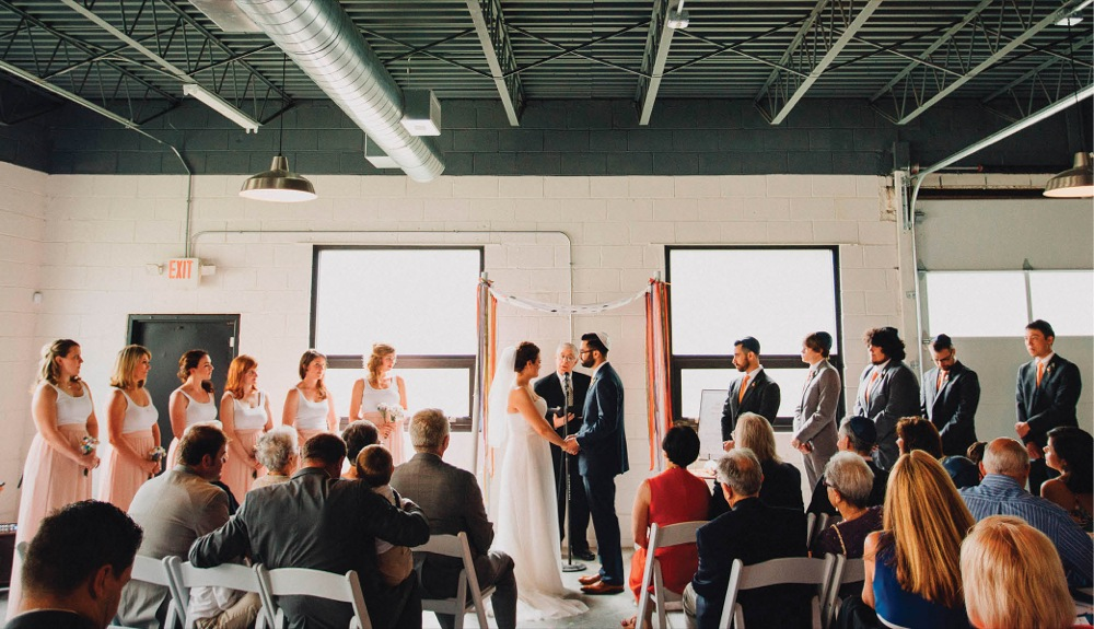 Slack and Wagreich married in Pallet23, an urban warehouse-like space in Northside.