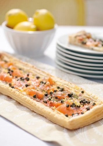 Smoked Salmon Puff Pastry Pizza.