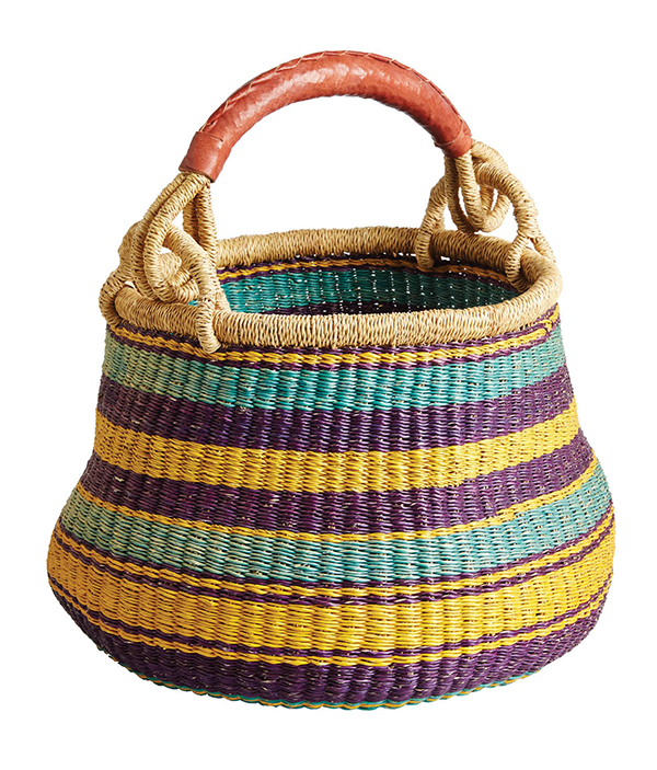 OUT OF AFRICA Some great goods on the local market come from afar, like this sturdy, swingy basket. Ghanaian woven basket, $65, Kilimanjaro African Heritage, african forus.com