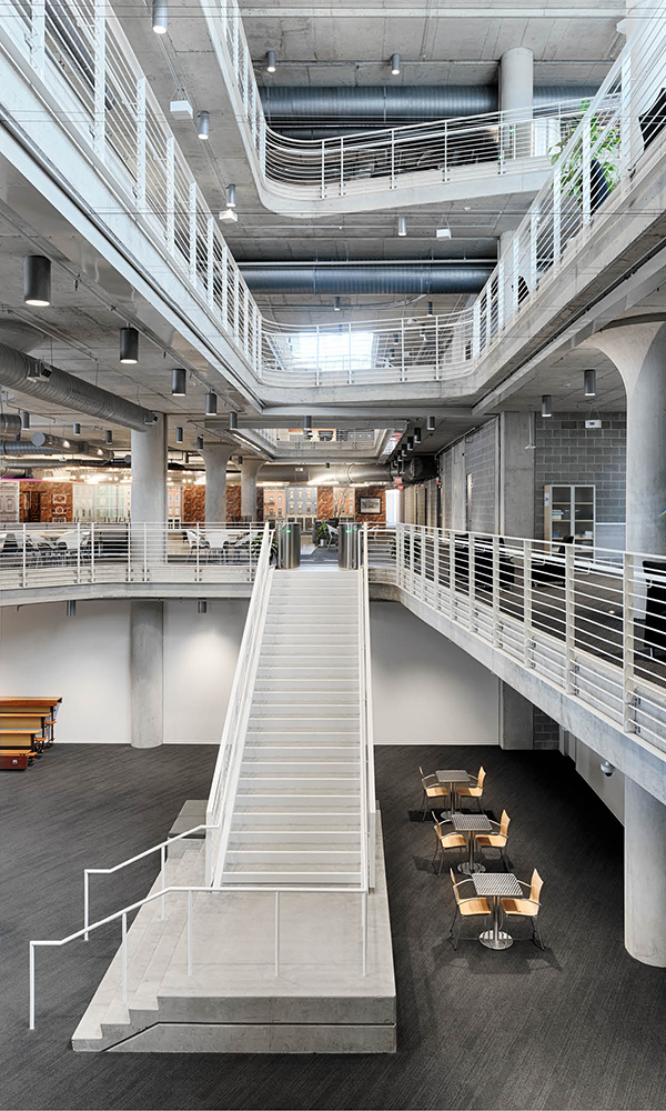 """The """"canyon"""" is a five-story stairway topped by a glass roof."""