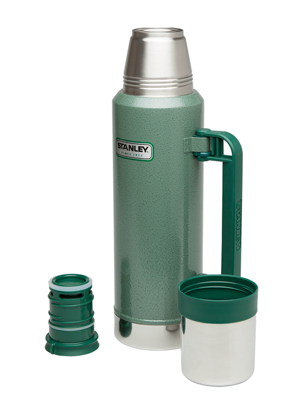 BOTTLE IT UP Stanley's classic vacuum bottle has been around for 100 years for good reason: It keeps drinks hot or cold and is reliably leak-proof, so there's no need to cry over spilled anything. 1.4 quart in Hammertone Green, $45, Delamere & Hopkins, dh.bestgear.com