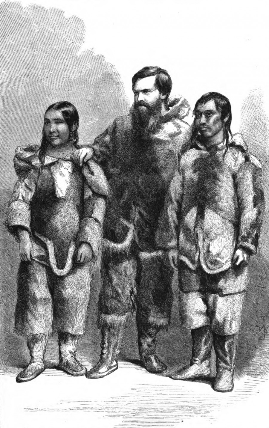 Hall standing between two Inuit natives 'Life with the Esquimaux: The Narrative of Captain Charles Francis Hall, ' Charles Francis Hall, S. Low, son and Marston, 1864