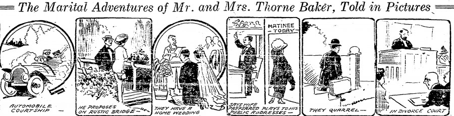 "Cartoon ""Marital Adventures,"" From Cincinnati Post, 4 February 1913 Page 1"