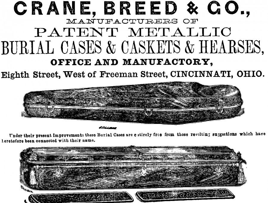 Advertisement for Crane, Breed & Company, from Williams Cincinnati City Directory 1865