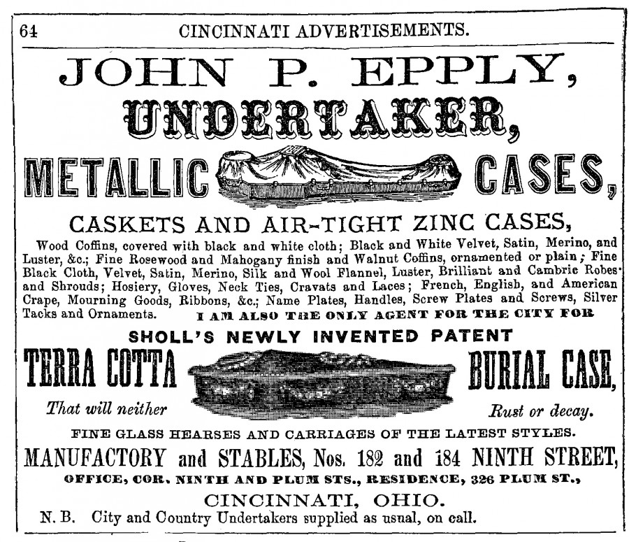 Advertisement for John P. Epply Undertaker, from Williams Cincinnati City Directory 1860