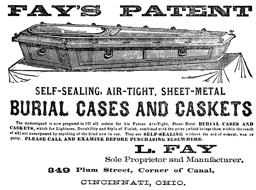 Advertisement for Fay's Patent from Williams Cincinnati City Directory 1865, Digitized by the Public Library of Cincinnati and Hamilton County
