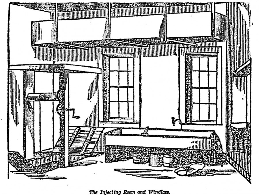 "Image of ""The Injecting Room and Windlass"" from The Cincinnati Enquirer, 31 May 1878"