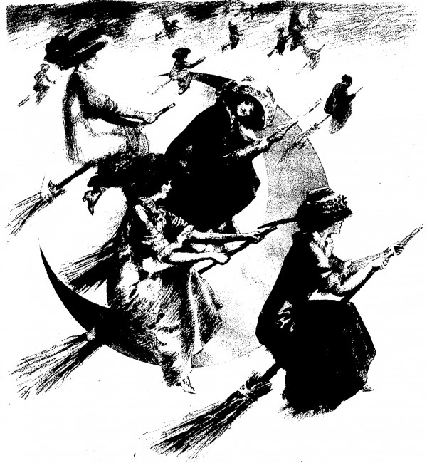 """Illustration of """"Modern Witches"""", from Cincinnati Enquirer 22 October 1911; Cover of Family Magazine section"""