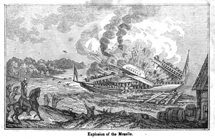 When the steamboat Moselle exploded in 1838, bodies and parts of bodies rained on Cincinnati. Most were buried on the land where Music Hall now stands.