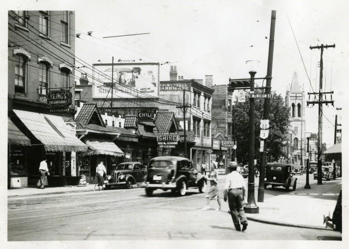 Historic, bustling Gilbert Avenue at E. McMillan Street (photograph undated).