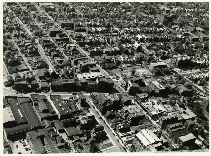 An historic aerial shot of Peebles Corner and Walnut Hills (photograph undated).