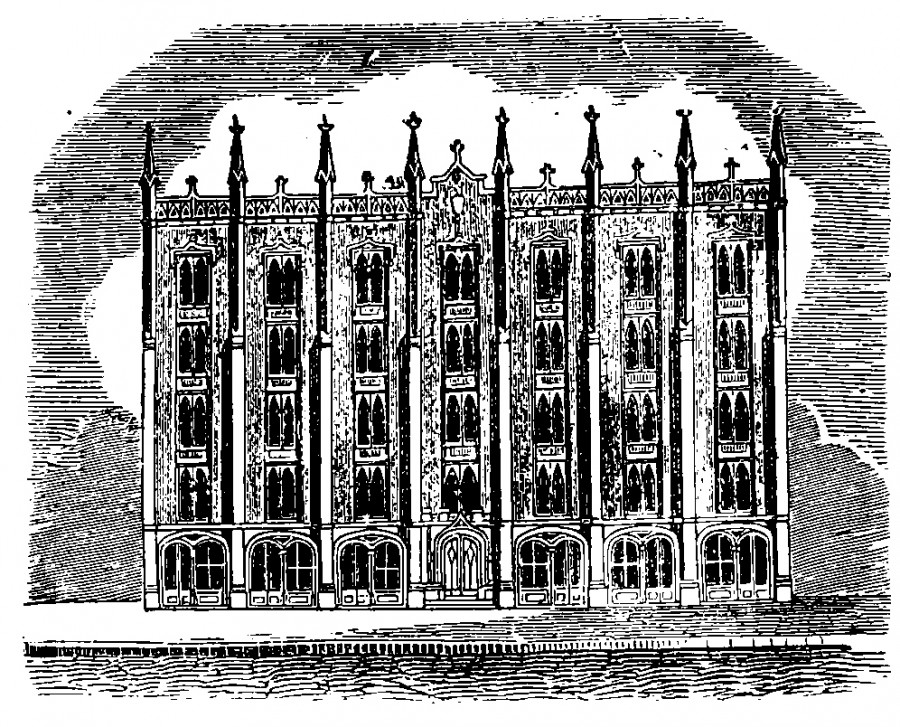 Drawing of Medical College of Ohio building from 1856 Williams' Cincinnati City Directory