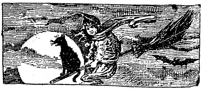 Illustration of a little witch flying a broom, from Cincinnati Enquirer 29 October 1899