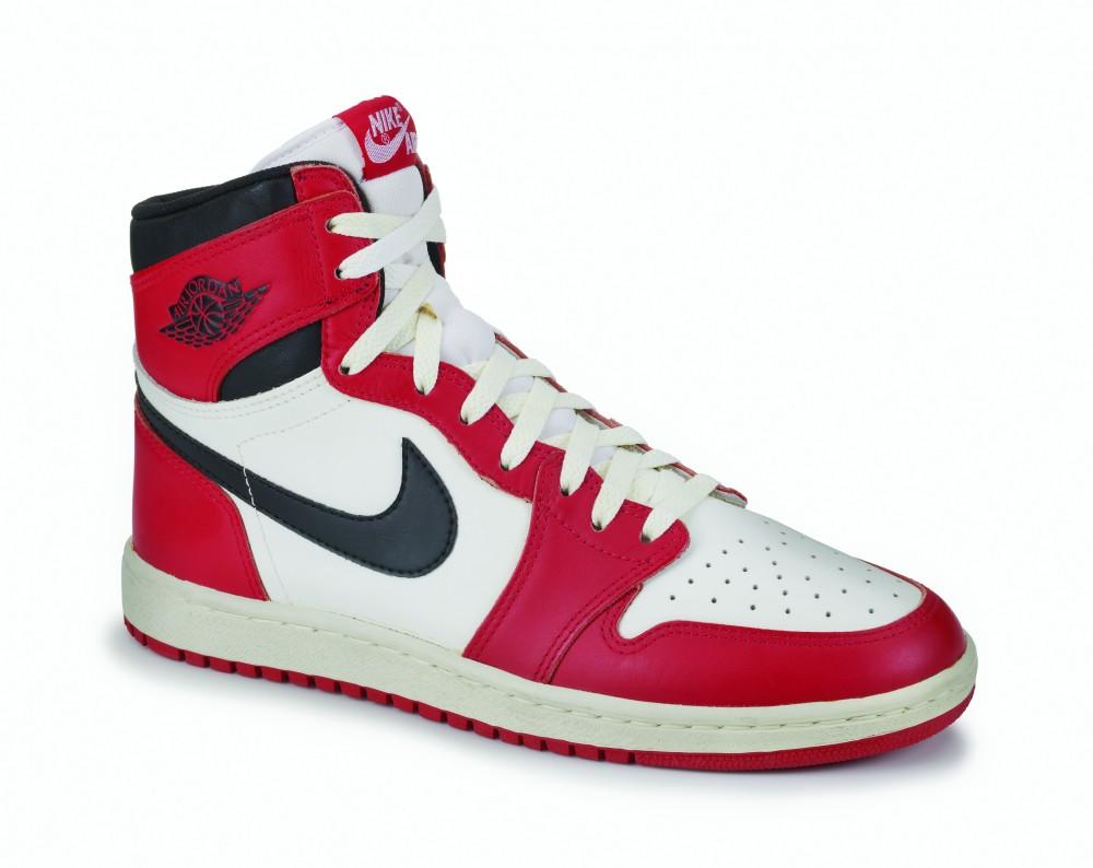 Nike, Air Jordan I, 1985. Nike Archives. Photo: Ron Wood, courtesy American Federation of Arts/Bata Shoe Museum.