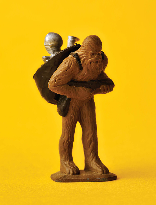 A hand-painted Micro prototype of Chewbacca (that's C-3PO in the sack)