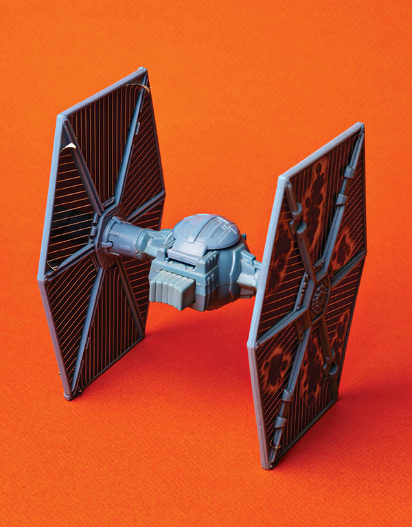 A 1982 TIE fighter with spring-loaded wings