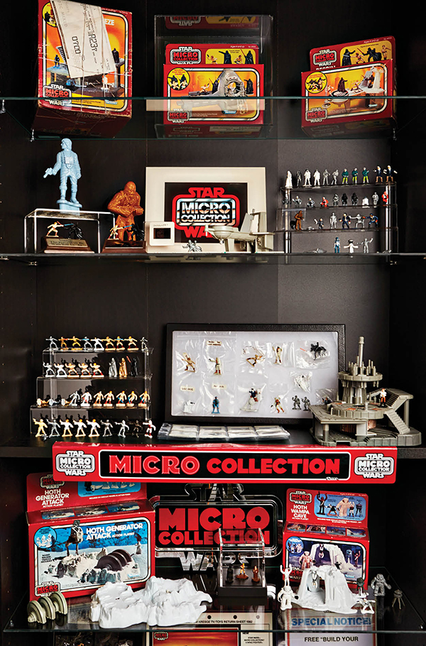 One of many cabinets in Josh Blake's basement displaying his Micro Collection