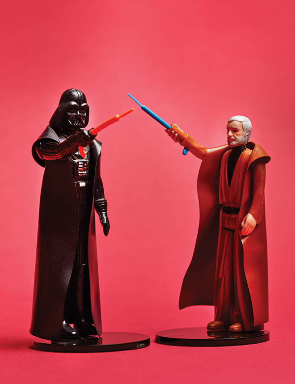 Darth Vader and Obi-Wan Kenobi, lightsabers engaged