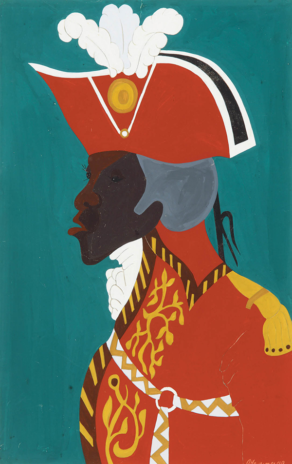 Jacob Lawrence, Toussaint L'Ouverture series, no. 20: General Toussaint L'Ouverture, statesman and military Genius, esteemed by the Spaniards, feared by the English, dreaded by the French, hated by the planters, and reverenced by the Blacks. 1938