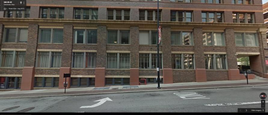 a Google Street View image of the ground floors of the Textile Building, located where 145 Elm used to stand. The turn-lane arrow on Elm Street in this image points approximately to where 145 Elm used to be located.