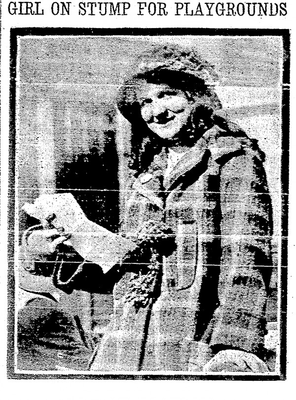 Gertrude Leder of Evanston was among a group of schoolchildren who spoke in favor of the 1915 Cincinnati Parks bond issue at a rally in Lytle Park.