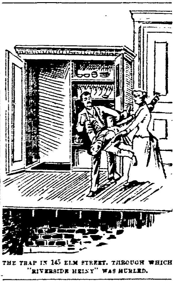 """Illustration of """"Riverside Heiny"""" being dumped in a bottomless wardrobe"""