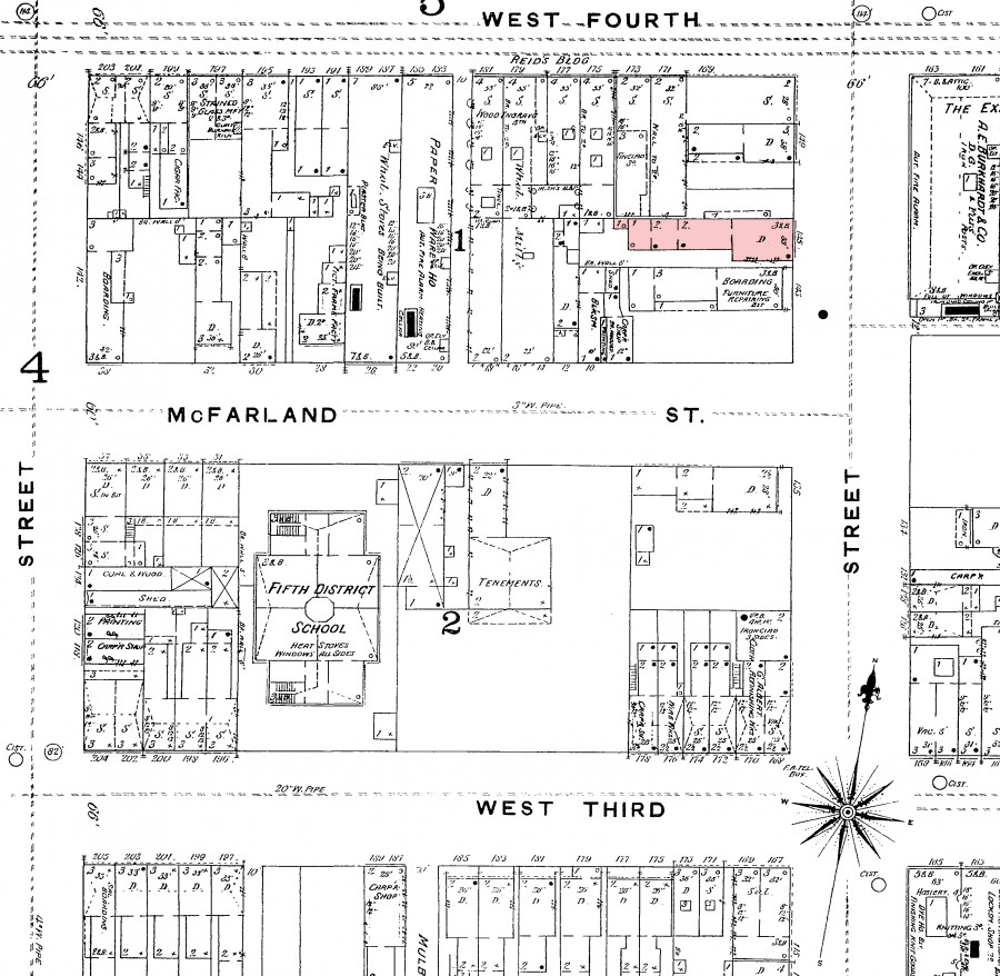 A Sanborn map of the area at about the time the incident took place. 145 Elm is highlighted in pink.